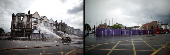 In this composite image (Left Photo) Fire officers damp down smouldering buildings on London Road on August 9, 2011 in Croydon, England. (Right Photo) The space left by buildings destroyed by fire on 