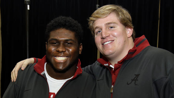 Alabama offensive linemen Chance Warmack, left, and Barrett Jones pose together during a media availability, Thursday, Jan. 3, 2013 in Fort Lauderdale, Fla. Alabama will play Notre Dame on Jan. 7 in the NCAA college football BCS Championship game. (AP Photo/Wilfredo Lee)
