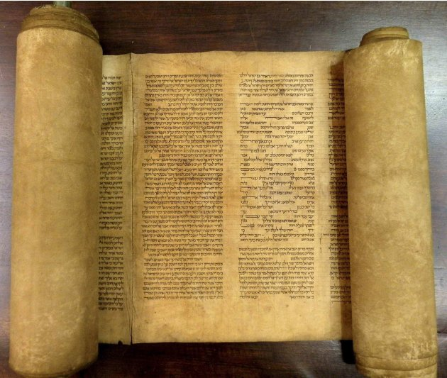 Handout of a scroll identified by Italian professor Perani as the world's oldest complete scroll of the Hebrew Torah in Bologna