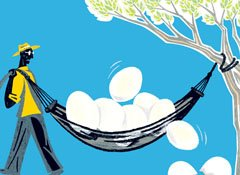 Illustration of a hammock with eggs on top