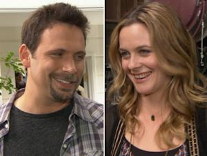 Alicia Silverstone and Jeremy Sisto on the set of 'Suburgatory' in Los Angeles on January 25, 2012 -- Access Hollywood