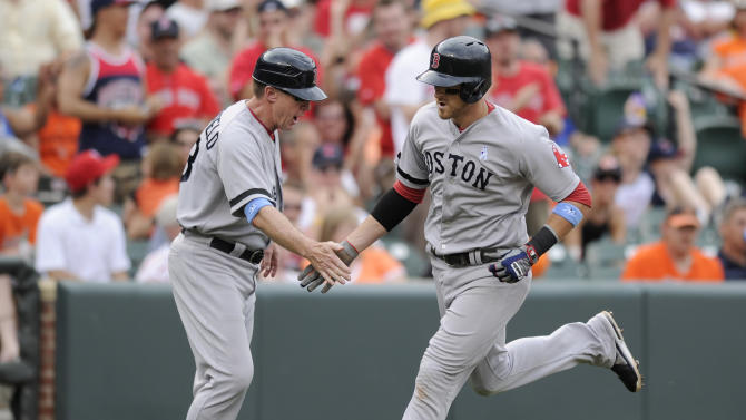Boston Red Sox's Will Middlebrooks, right, rounds third after he hit a three-run home run as he is greeted by third base coach Brian Butterfield, left, during the seventh inning of a baseball game against the Baltimore Orioles, Sunday, June 16, 2013, in Baltimore. The Orioles won 6-3. (AP Photo/Nick Wass)