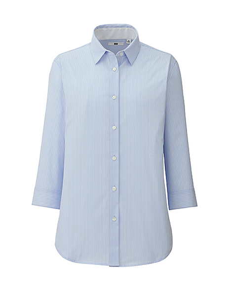 Women's UV Cut Stretch Broadcloth Stripe 3/4 Sleeve Shirt, $29.90 at uniqlo.com