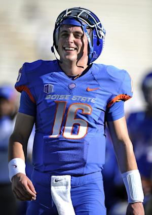 FILE - In this Oct. 15, 2011, file photo, Boise State quarterback Joe Southwick smiles before an NCAA college football game against the Colorado State in Fort Collins, Colo. Going into fall camp, Petersen made clear it was an open competition with no clear favorite. Redshirt junior Joe Southwick got all the first-team snaps at the team's final scrimmage a week ago, and his experience and knowledge of the offense appears to give him the edge heading into next week's opener. (AP Photo/Jack Dempsey, File)