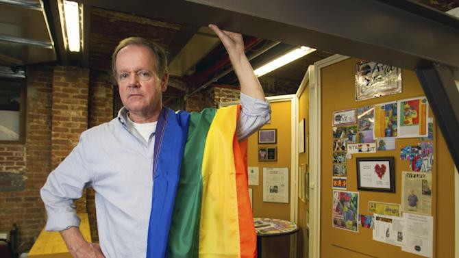 In this photo taken Aug. 20, 2012, Dave Webb, co-chair of the 2012 Pride Charlotte Festival poses in the group's Charlotte offices. Webb says it's been a tough few months for North Carolina's gay and lesbian community. North Carolina voters in May approved a constitutional amendment banning gay marriage. As the Democratic National Convention draws near, the community plans to be more visible. They will hold a two-day gay pride celebration the weekend before the convention.  (AP Photo/Bob Leverone)