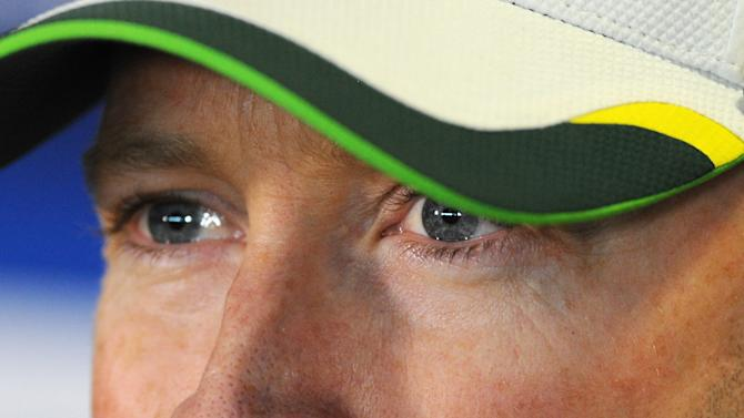 Australia captain Michael Clarke gestures during a press conference ahead of the third Ashes Test cricket match against England, at Edgbaston, Birmingham, England, Tuesday, July 28, 2015. (AP Photo/Rui Vieira)