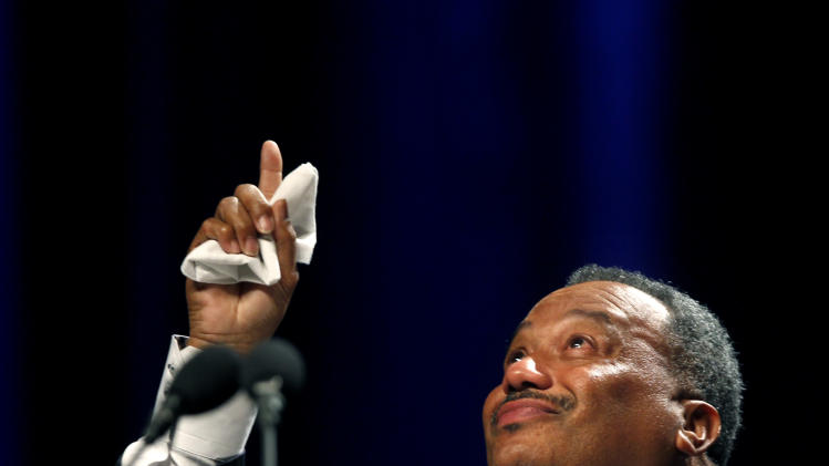 Fred Luter, Pastor of the Franklin Ave. Baptist Church in New Orleans reacts as he is elected president of the Southern Baptist Convention, at the convention in New Orleans, Tuesday, June 19, 2012. Luter is the first African-American to be elected president of the nation's largest Protestant denomination. (AP Photo/Gerald Herbert)