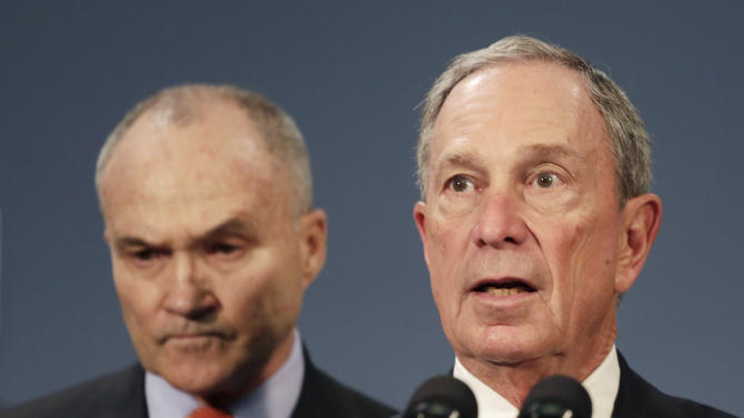 FILE- In this April 25, 2013 file photo, New York City Mayor Michael Bloomberg, right is joined by New York City Police Commissioner Raymond Kelly, left, during a news conference in New York. New York City Police said on Wednesday, May 29, 2013 that two anonymous letters sent to Bloomberg, one in New York and one in Washington, contained traces of the deadly poison ricin. Police say civilian personnel who came into contact with the letters were not showing any symptoms, but some officers who later examined the one in New York were. (AP Photo/Mark Lennihan, File)