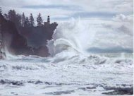 A rough wave strikes the Oregon Coast.