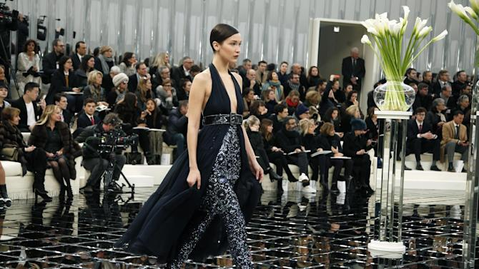 Model Bella Hadid wears a creation during Chanel's Spring-Summer 2017 Haute Couture fashion collection presented in Paris, Tuesday, Jan.24, 2017. (AP Photo/Thibault Camus)
