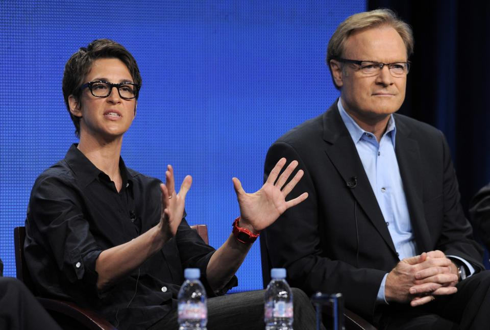 "Rachel Maddow, left, host of ""The Rachel Maddow Show"" on MSNBC, and Lawrence O'Donnell, host of ""The Last Word,"" take part in a panel discussion at the NBC Universal summer press tour, Tuesday, Aug. 2, 2011, in Beverly Hills, Calif. (AP Photo/Chris Pizzello)"