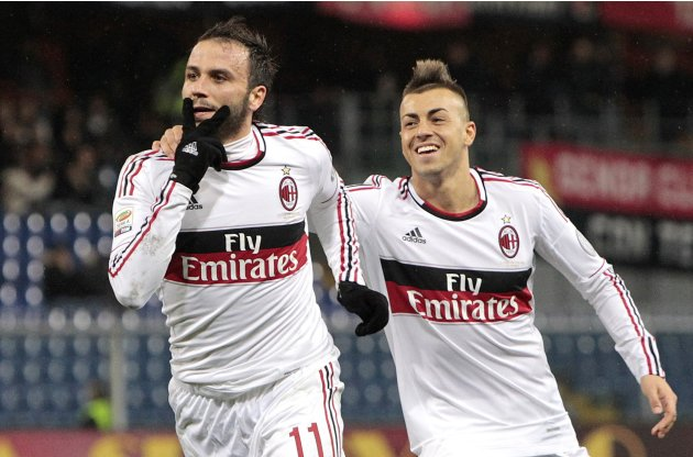 AC Milan's Pazzini celebrates with his team mate El Sharaawy after scoring against during their Italian  Serie A soccer match in Genoa