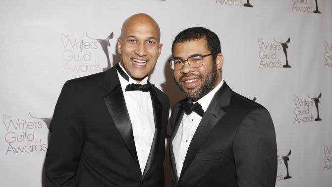 Keegan-Michael Key and Jordan Peele attend the 2013 Writers Guild Awards at the JW Marriott on Sunday, Feb. 17., 2013 in Los Angeles. (Photo by Todd Williamson/Invision/AP)