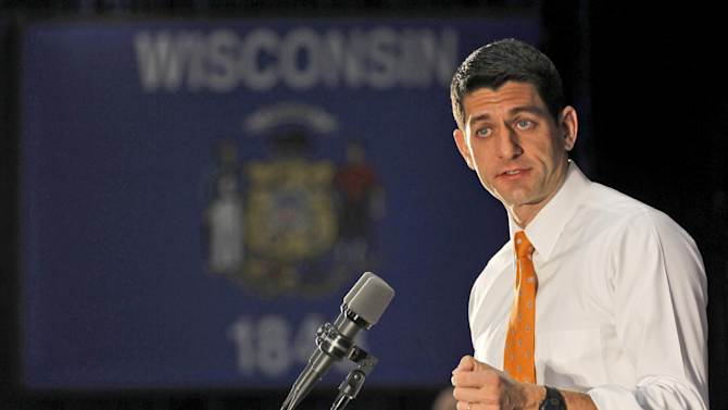 Republican vice presidential candidate, Rep. Paul Ryan, R-Wis. gestures while speaking during a campaign event, Wednesday, Oct. 31, 2012, in Eau Claire, Wis.  (AP Photo/Mary Altaffer)