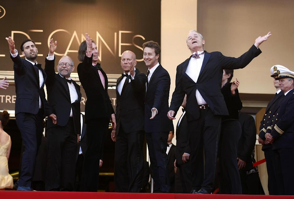 From left, actors Jason Schwartzman, Bob Balaban, director Wes Anderson, actors, Bruce Willis, Edward Norton and Bill Murray arrive for the opening ceremony and screening of Moonrise Kingdom at the 65th international film festival, in Cannes, southern France, Wednesday, May 16, 2012. (AP Photo/Lionel Cironneau)
