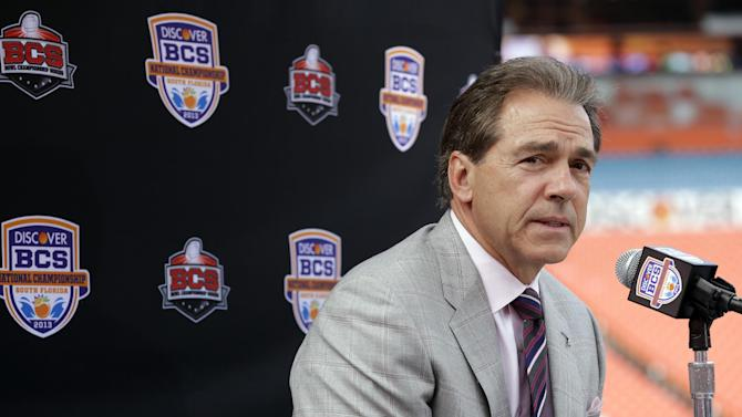 Alabama head coach Nick Saban answers a question during Media Day for the BCS National Championship college football game Saturday, Jan. 5, 2013, in Miami. Alabama faces Notre Dame in Monday's championship game. (AP Photo/Chris O'Meara)