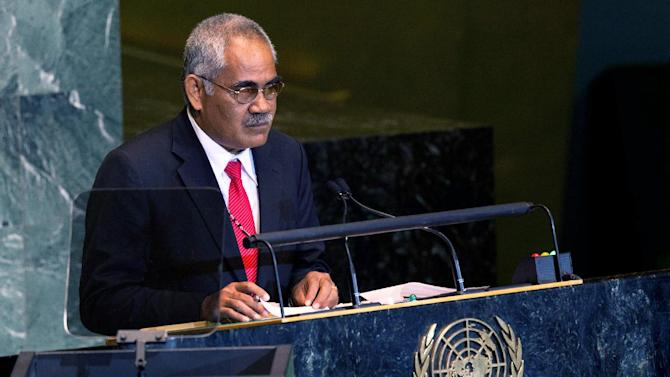 Prime Minister of Tuvalu Willy Telavi speaks at the 66th United Nations General Assembly at U.N. headquarters, Saturday, Sept. 24, 2011. (AP Photo/John Minchillo)