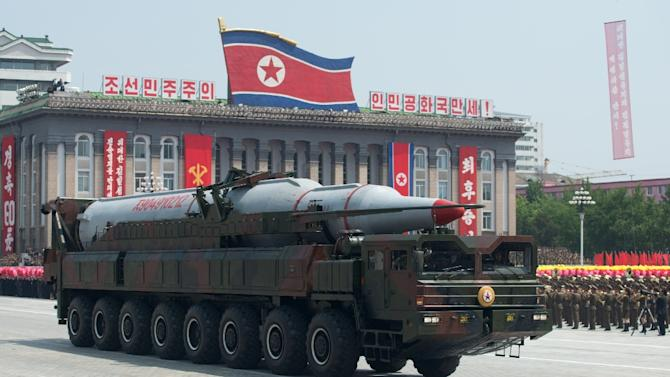 A North Korean Taepodong-class missile is displayed during a military parade in Kim Il-Sung square in Pyongyang in 2013
