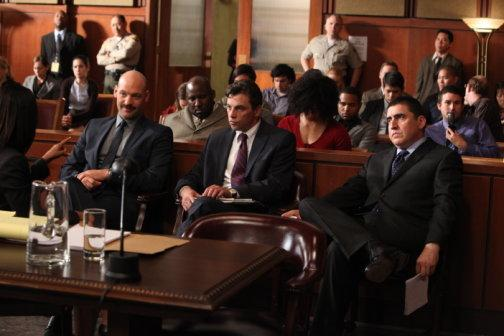 "Corey Stoll as Det. Tomas ""TJ"" Jarusalski, Skeet Ulrich as Det. Rex Winters, and Alfred Molina as D.D.A. Ricardo Morales in ""Law & Order: Los Angeles."""