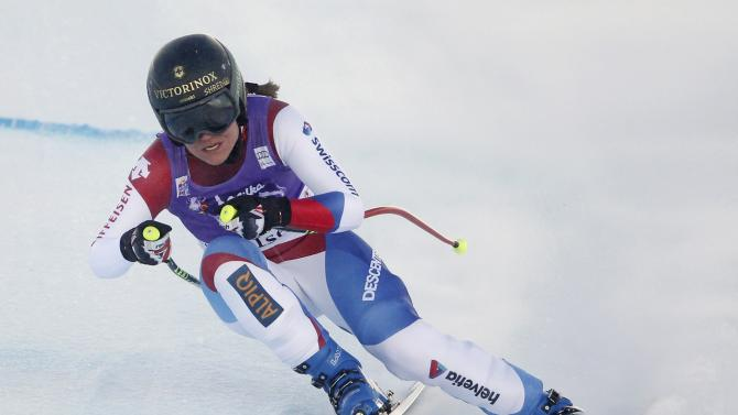 Switzerland's Suter skis during the women's World Cup Downhill skiing race in Val d'Isere