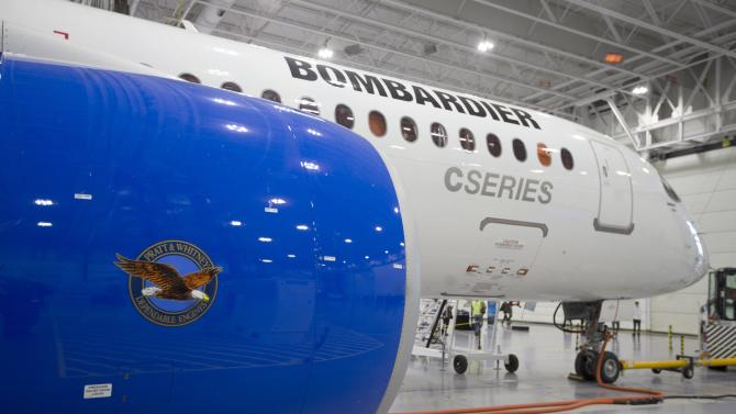 File photo of Bombardier's CS300 Aircraft sits in the hangar prior to a test flight in Mirabel