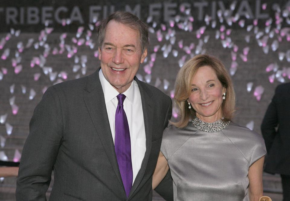 Journalist Charile Rose, left, and his wife Mary King, right, attend the Vanity Fair Tribeca Film Festival Party, on Tuesday, April 16, 2013, in New York. (Photo by Andy Kropa/Invision/AP)