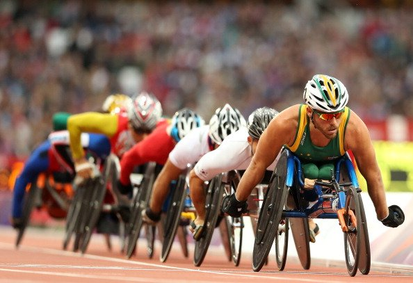 Kurt Fearnley of Australia leads the field in the Men's 5000m - T54 heats on day 2 of the London 2012 Paralympic Games at Olympic Stadium on August 31, 2012 in London, England. (Photo by Scott Hea