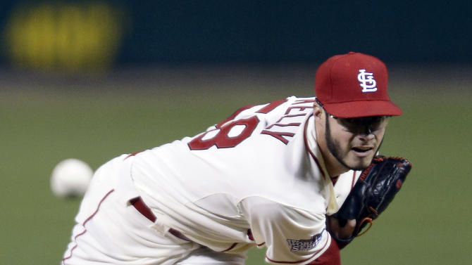 St. Louis Cardinals starting pitcher Joe Kelly throws during the first inning of Game 3 of Game 3 of baseball's World Series against the Boston Red Sox Saturday, Oct. 26, 2013, in St. Louis. (AP Photo/Tannen Maury, Pool)
