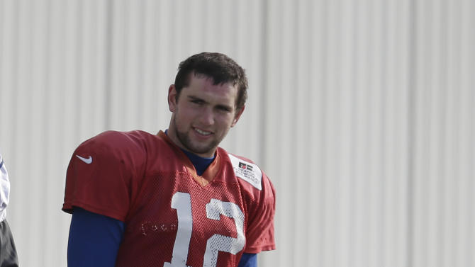 Indianapolis Colts' Andrew Luck waits to practice at the Colts complex Wednesday, Jan. 2, 2013, in Indianapolis. The Colts will play the Baltimore Ravens in a  AFC Wild Card playoff game Sunday. (AP Photo/Darron Cummings)