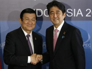 Japanese Prime Minister Shinzo Abe, right, and Vietnamese …