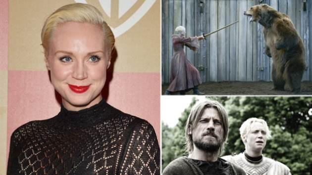 Gwendoline Christie at an event in January (left); Fighting the bear as Brienne (top right), and with Jaime Lannister in the forest (bottom right) -- Getty ImagesHBO