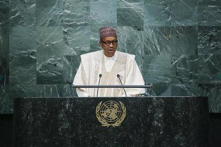 Buhari addresses attendees during the 70th session of the United Nations General Assembly at the U.N. headquarters in New York