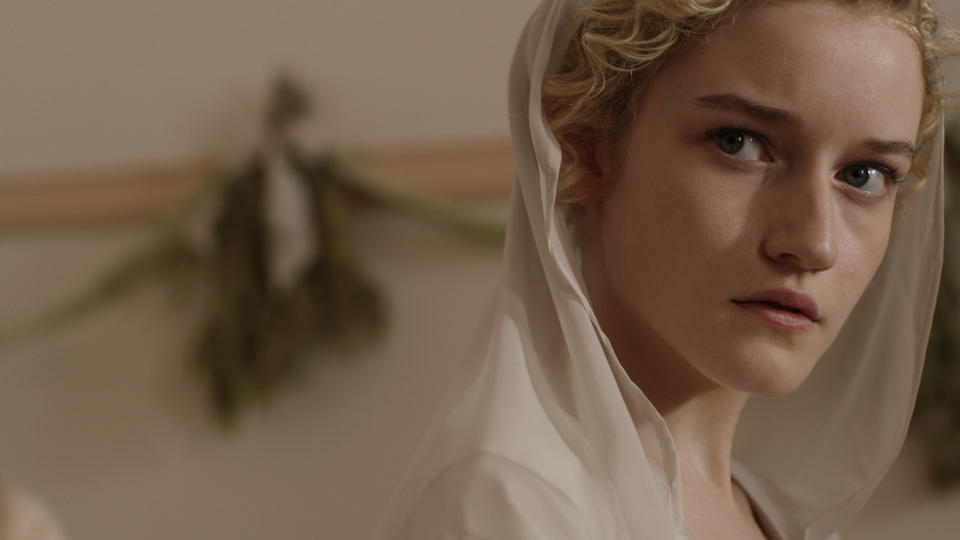 "This undated publicity film image released by Phase 4 Films shows Julia Garner as Rachel as a bride in a scene from the film, ""Electrick Children."" (AP Photo/Phase 4 Films)"