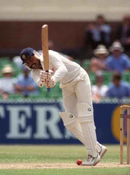 Indian batsman Vengsarkar receives a yorker during