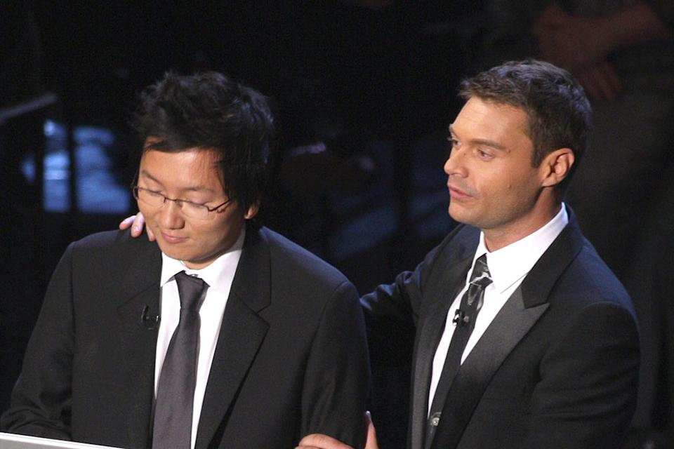 Masi Oka and Ryan Seacrest during the 59th Annual Primetime Emmy Awards at the Shrine Auditorium on September 16, 2007 in Los Angeles, California.