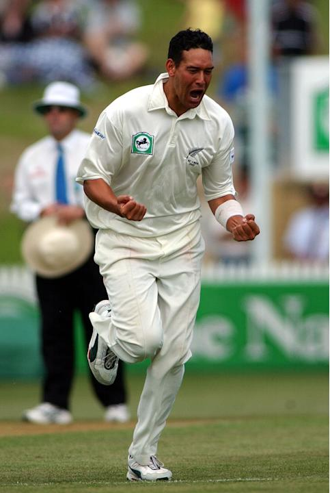 Black Caps player Daryl Tuffey celebrates the wick