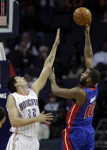 Jerebko leads Pistons over Bobcats, 98-81