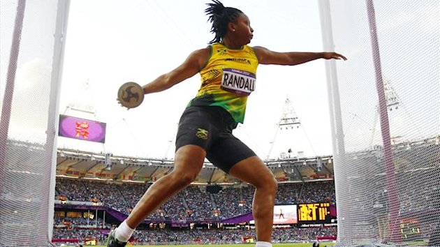Jamaica's Allison Randall competes during her women's discus throw Group A qualification at the London 2012 Olympic Games (Reuters)