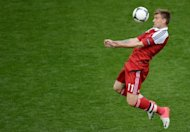 Danish forward Nicklas Bendtner during the Euro 2012 match against Portugal on June 13. Bendtner said his team have to show plenty of belief against the Germans
