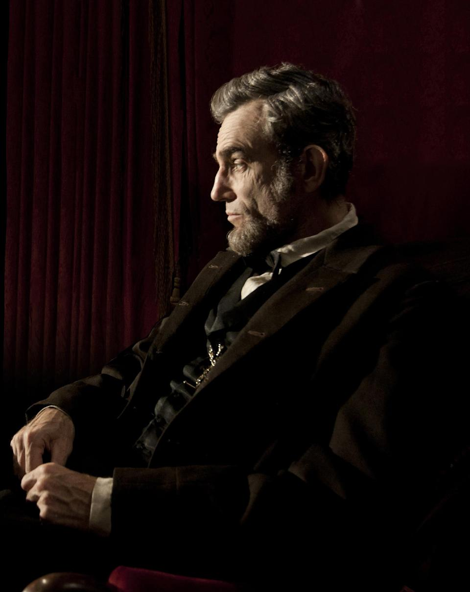 "This image released by Walt Disney Pictures shows Daniel Day-Lewis portraying Abraham Lincoln in the film ""Lincoln.""  (AP Photo/Disney-DreamWorks II, David James)"