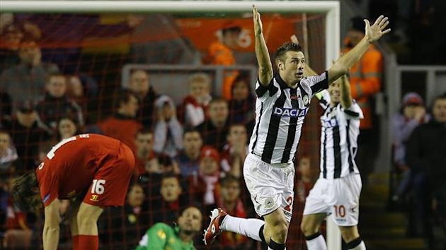 Udinese's Giovanni Pasquale (2nd R) celebrates scoring against Liverpool during their Europa League Group A soccer match at Anfield in Liverpool (Reuters)