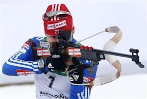Russia's Iourieva shoots during the women's 10 kilometres pursuit race at the Biathlon World Cup in the southern Bavarian resort of Ruhpolding