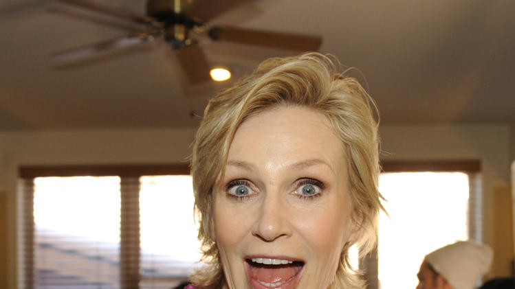 IMAGE DISTRIBUTED FOR FENDER - Actress Jane Lynch is seen at the Fender Music lodge during the Sundance Film Festival on Monday, Jan. 21, 2013, in Park City, Utah. (Photo by Jack Dempsey/Invision for Fender/AP Images)