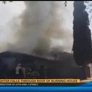 California firefighter in critical condition after roof fall