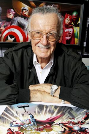 FILE - This Oct. 12, 2012 file image released by Starpix shows Marvel Comics scribe and film producer Stan Lee at a special signing, hosted by Choice Collectibles, a publisher of Marvel fine art, during New York Comic Con at Jacob K. Javits Convention Center in New York. Lee is missing in action at Comic-Con International, held July 24-27, 2014, in San Diego. A spokesman for the 91-year-old co-creator of such comic book superheros as The Avengers, X-Men and Spider-Man says Lee lost his voice because of laryngitis and is unable to attend the four-day pop-culture celebration. (AP Photo/Starpix, Marion Curtis, file)