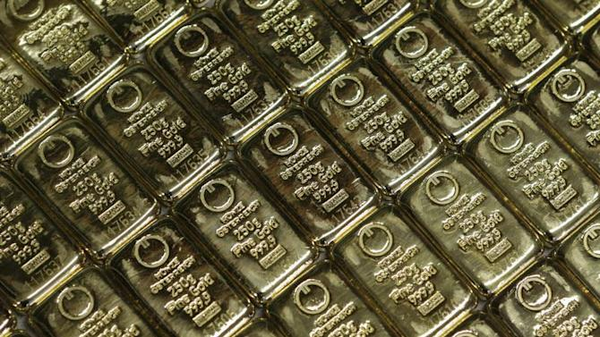 Gold bars are pictured at the GSA company's headquarters in Vienna