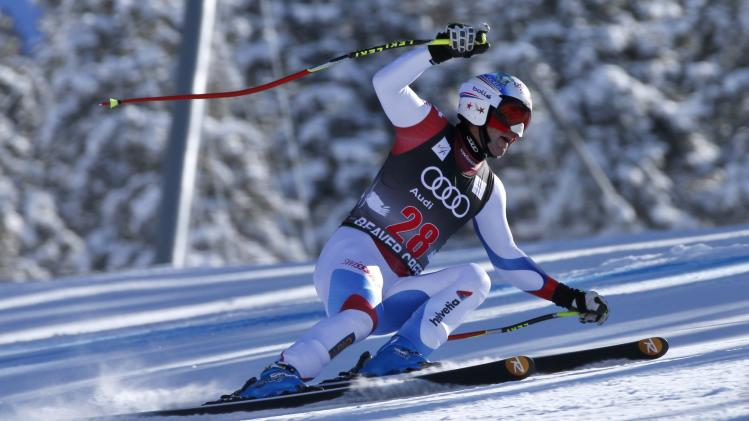 Didier Defago of Switzerland skis to the 10th fastest time during a training run for the men's World Cup Downhill ski race in Beaver Creek