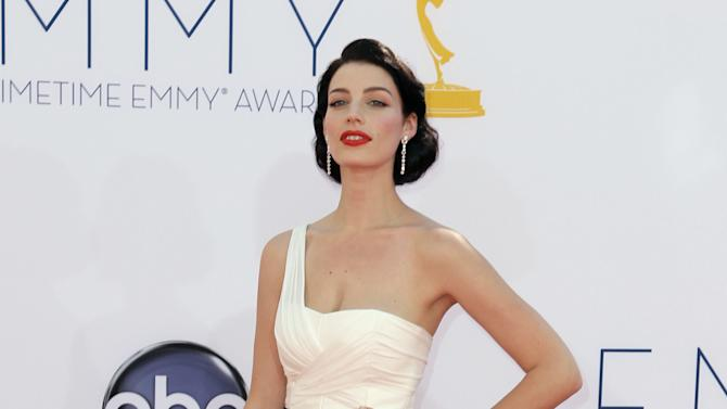 Jessica Pare arrives at the 64th Primetime Emmy Awards at the Nokia Theatre on Sunday, Sept. 23, 2012, in Los Angeles. (Photo by Matt Sayles/Invision/AP)