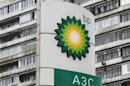 A BP logo is seen in front of an appartment block near a petrol station in Moscow