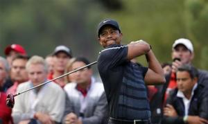 Woods of the U.S. tees off on the fourth hole during the inaugural Turkish Airlines Open in Antalya